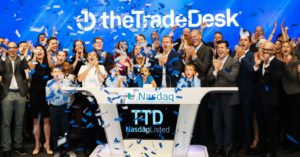 The Trade Desk rings The Nasdaq Stock Market Closing Bell in celebration of its IPO.