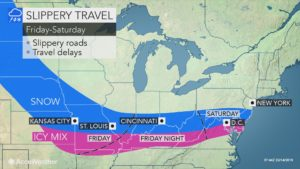 Snow and rain to streak through the US at the end of the week