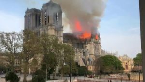 Notre-Dame cathedral: Firefighters tackle blaze in Paris