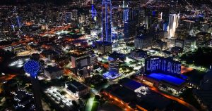 The downtown Dallas skyline was illuminated in blue in April as part of the nationwide #LightItBlue movement to show support for those fighting COVID-19.